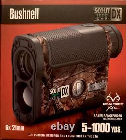 Bushnell Scout DX Rangefinder 1000 ARC 6x Magnification 1000 Yard Laser, Camo