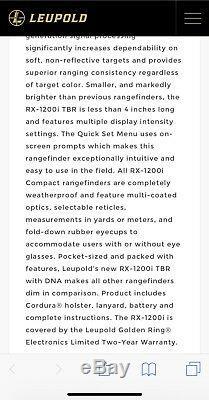 Leupold RX-1200i TBR/W with DNA Digital Laser Rangefinder Black